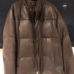 Andrew Marc leather down puffer